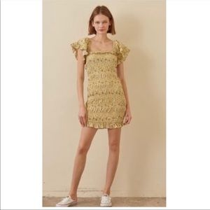 Storia Smocked Yellow Floral Cottage Core Dress